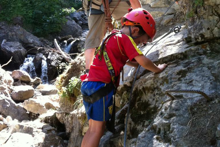 Via Ferrata summer alpine adventures with young children